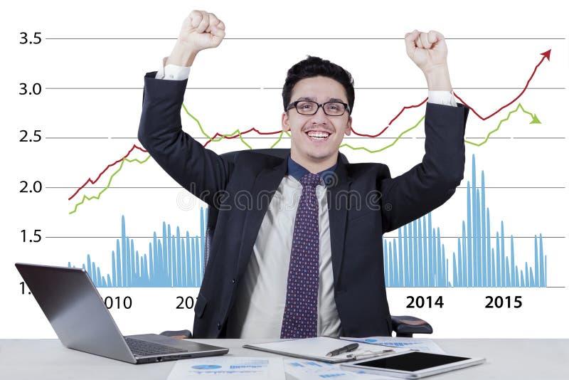 Aufgeregter Geschäftsmann mit Geschäftswachstumstabelle lizenzfreie stockbilder