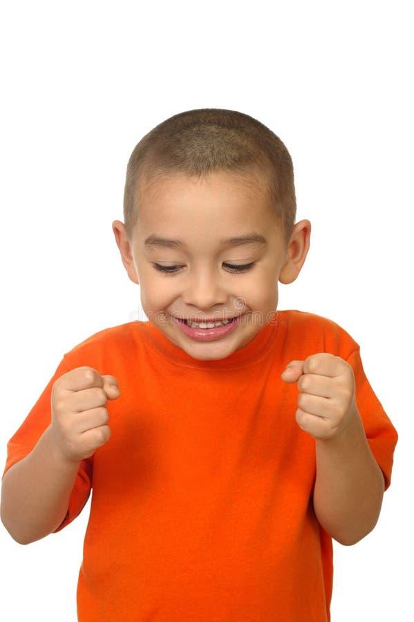 Aufgeregter Junge, fünf Jahre alt lizenzfreie stockfotografie