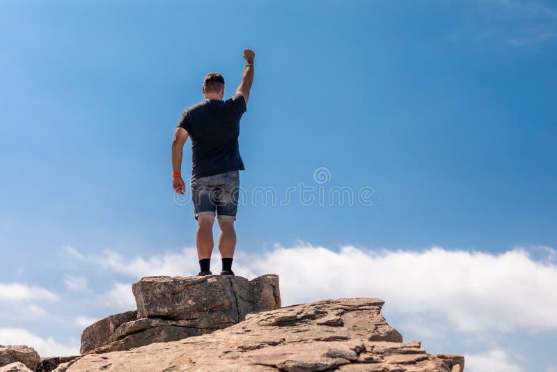 Aufgeregter Mann auf die Oberseite in einer schönen Sommer-Landschaft lizenzfreie stockfotos