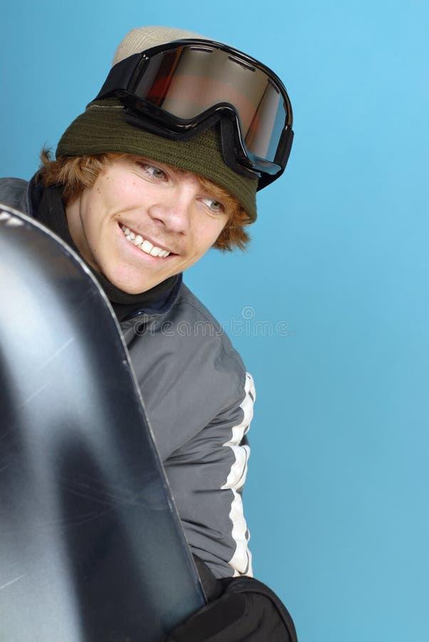 Aufgeregter Snowboarder lizenzfreies stockfoto
