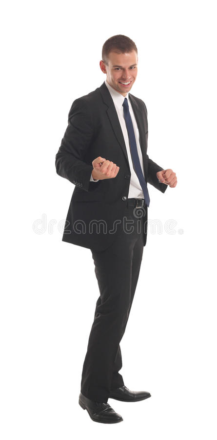 Aufgeregter stattlicher Geschäftsmann mit den Armen hob innen an lizenzfreie stockbilder