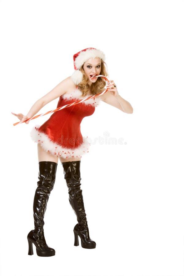 Aufgeregter Stift herauf Mrs Weihnachtsmann mit Zuckerstange lizenzfreie stockfotografie