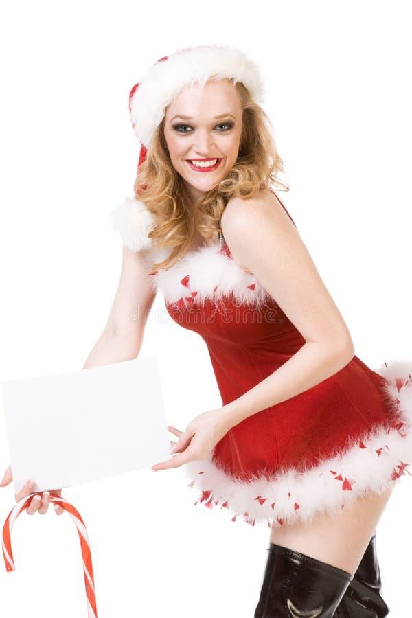 Aufgeregter Stift herauf Mrs Weihnachtsmann mit Zuckerstange stockbild
