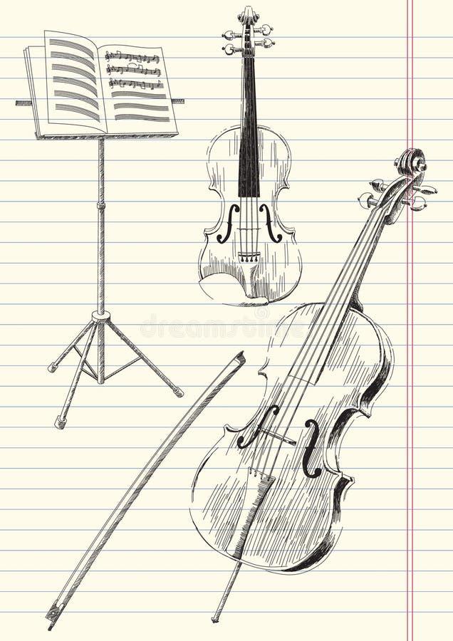 Aufgereihte Musik-Instrumente stock abbildung