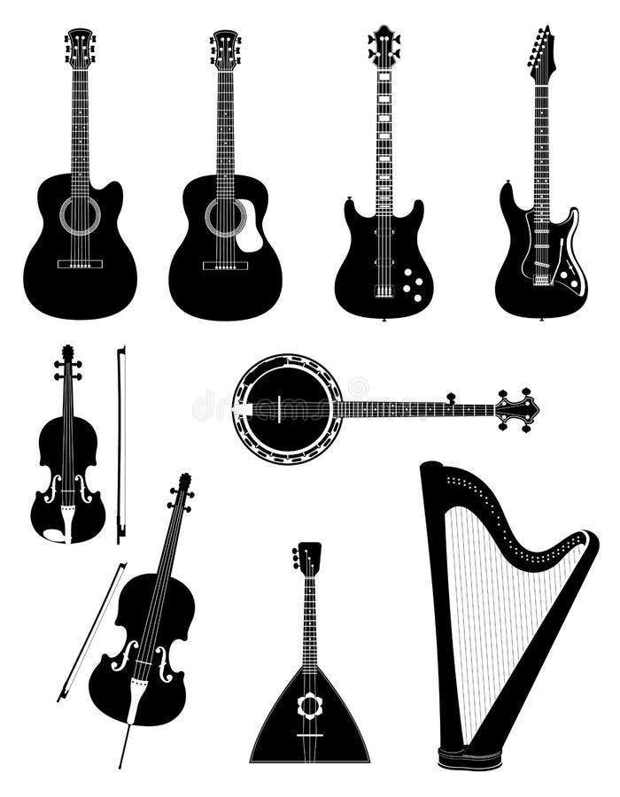 Aufgereihte Musikinstrumente schwärzen Entwurfsschattenbild-Vorrat vect lizenzfreie abbildung