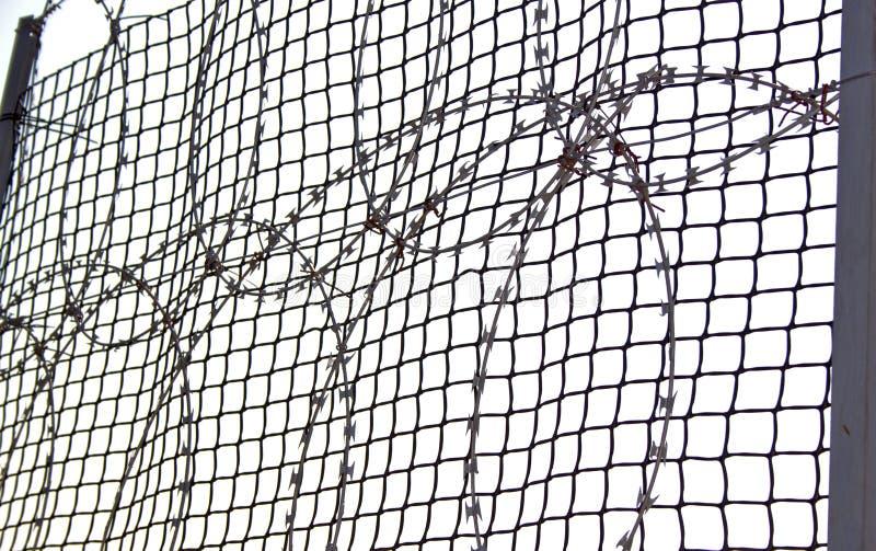 Aufgerollter Rasiermesser-Draht auf einem Bonnex-Zaun stockbild