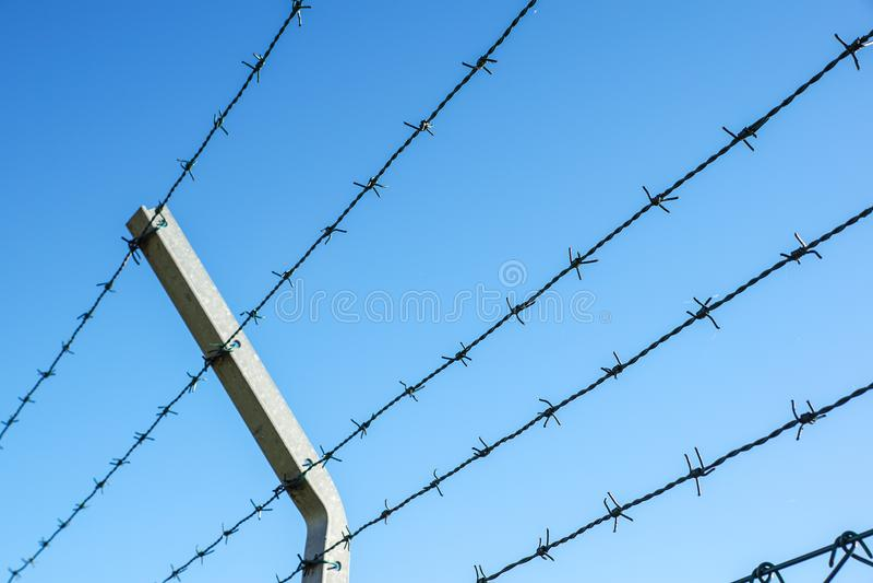 Aufgerollter Rasiermesserdraht mit seinen scharfen Stahlwiderhaken auf einen Maschenbegrenzungszaun, Sicherheit sicherstellend stockbild