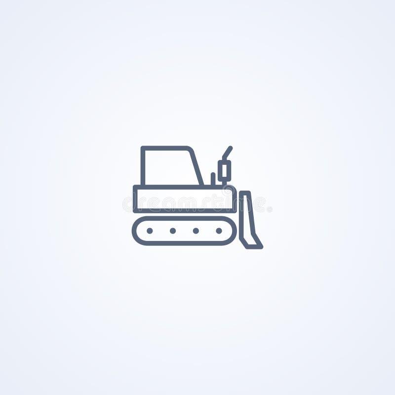 Aufgespürter Traktor, beste graue Linie Ikone des Vektors stock abbildung