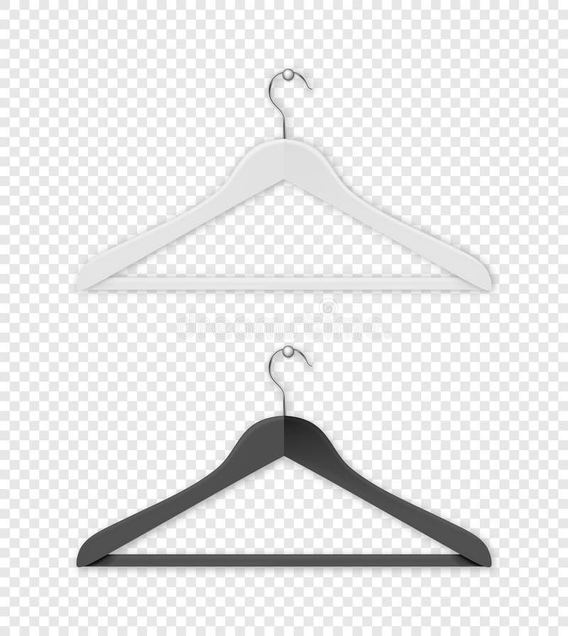 Aufhänger-Ikonenabschluß des realistischen Vektorkleidungsmantels Schwarzweiss-oben lokalisiert auf Transparenzgitterhintergrund  lizenzfreie abbildung