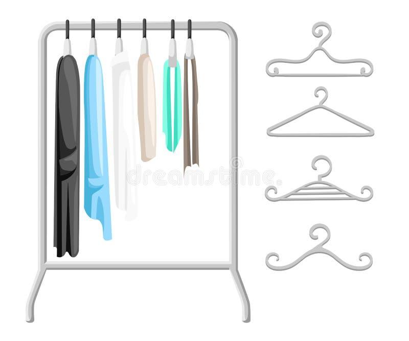 Aufhängergestelle mit Kleidung auf Aufhängern Modernes Illustrationskonzept der flachen Designart stock abbildung