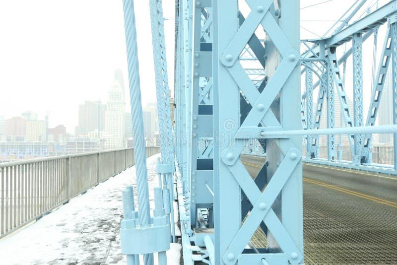 Aufhebungbrücke John-A Roeblings-Hängebrücke im Winterschnee in Cincin lizenzfreie stockfotografie