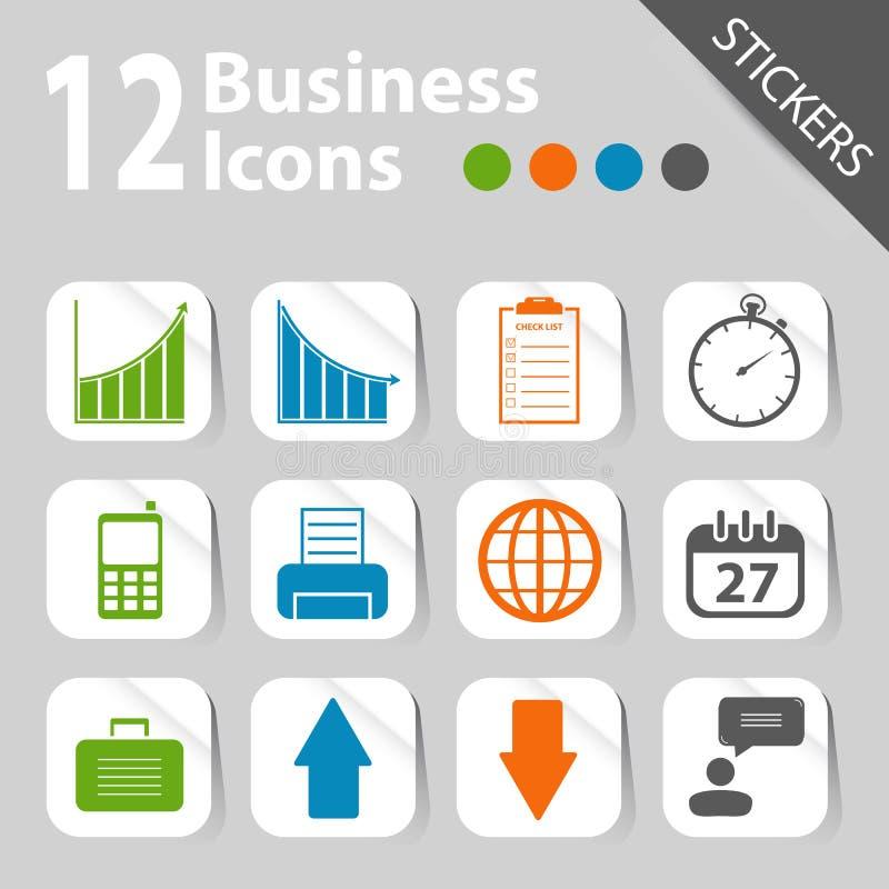 Aufkleber - Büro- und Geschäftsikonen lizenzfreie abbildung