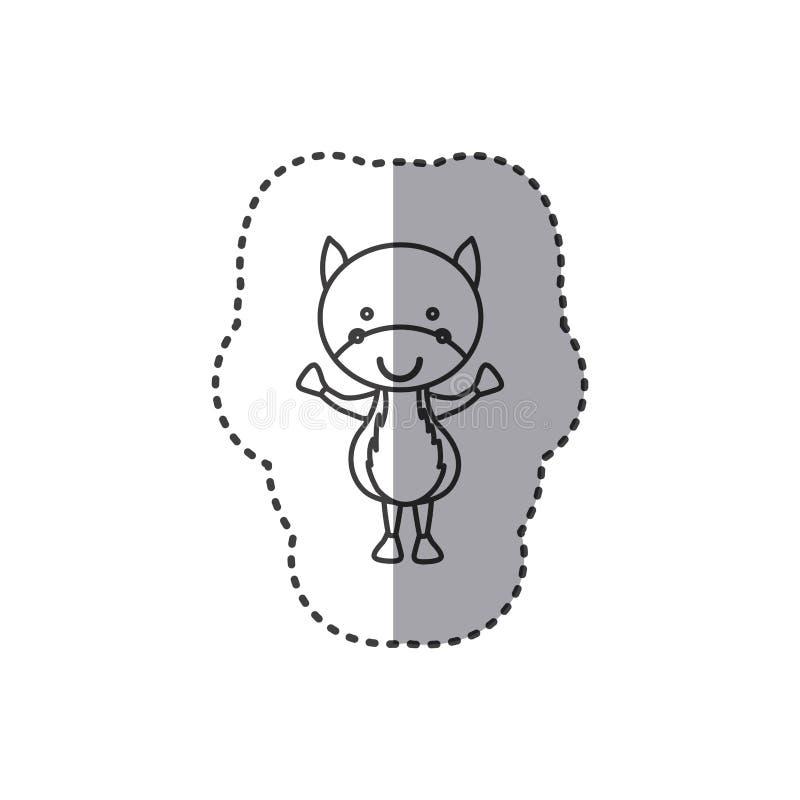 Aufkleber der Grayscalekontur des Stiers stock abbildung