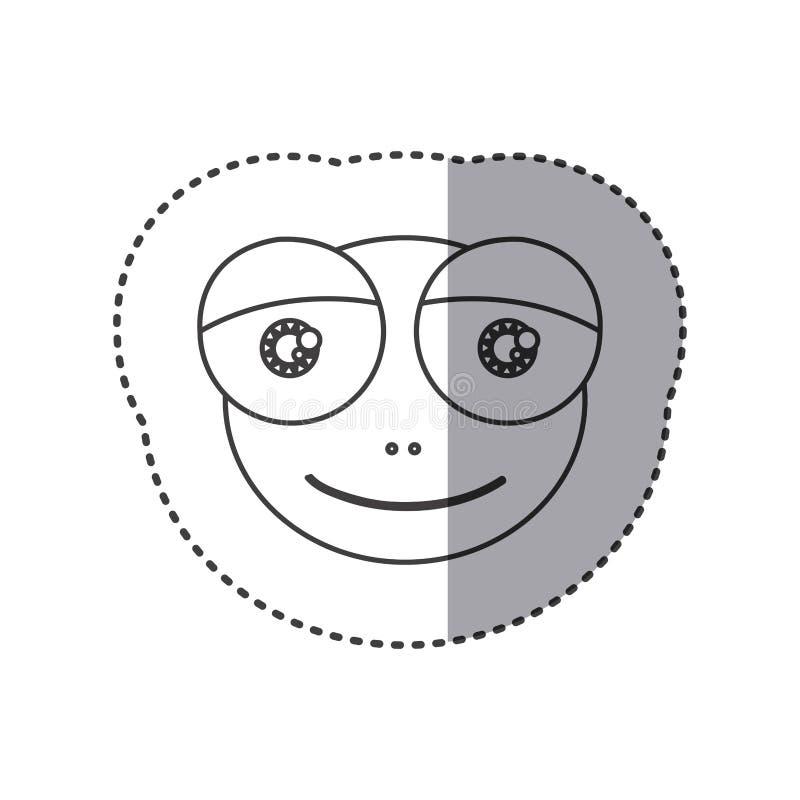 Aufkleber der Grayscalekontur mit Gesicht des Frosches mit großen Augen lizenzfreie abbildung