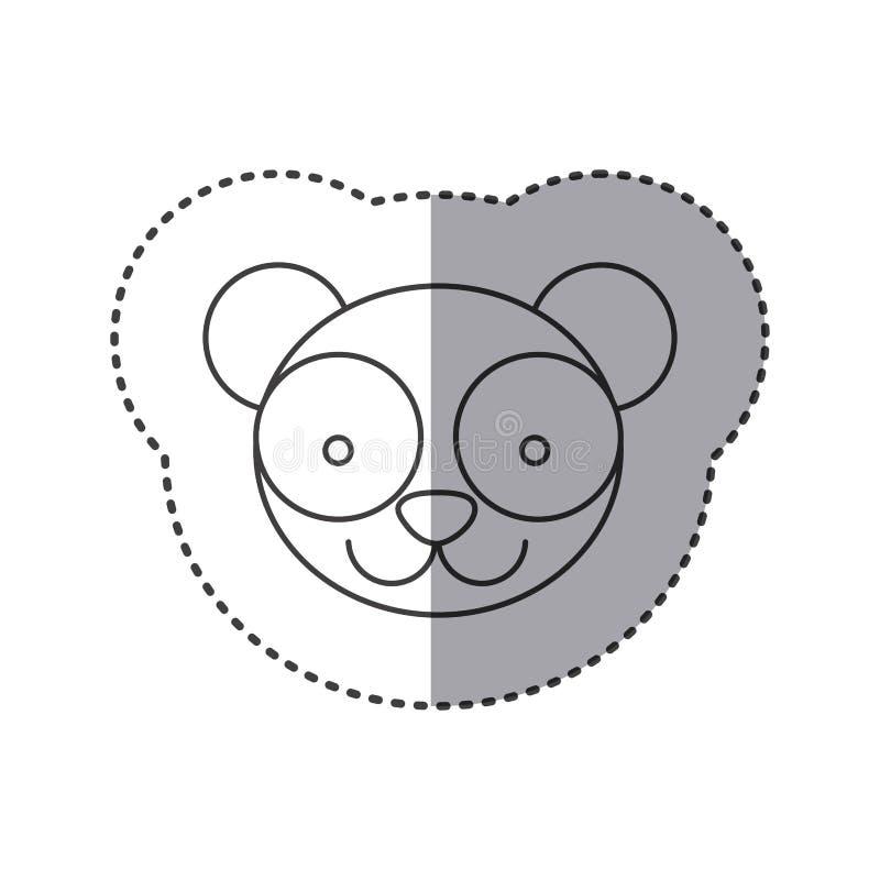 Aufkleber der Grayscalekontur mit Gesicht des Pandas vektor abbildung