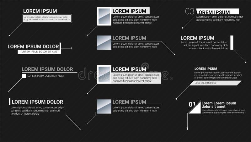 Aufkleber der Numerischen Information auf schwarzem Hintergrund Hinweistitel Moderne Fahnen der Bauchbinde für Darstellung Vektor vektor abbildung