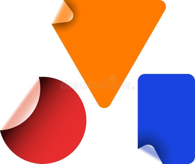 Aufkleber der roten, blauen, Orangenhaut stock abbildung