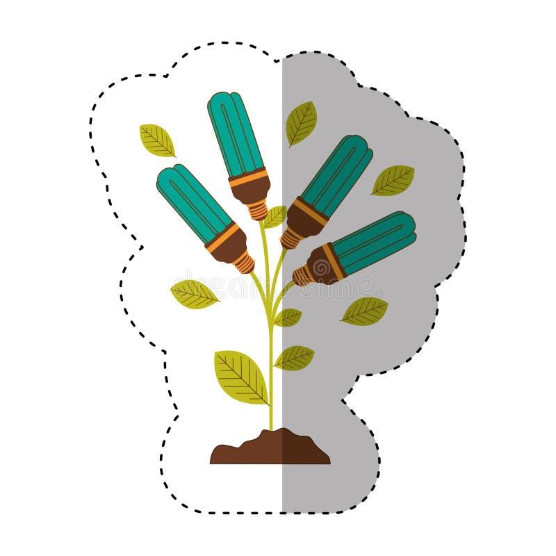Aufkleber des Betriebsstammes mit Blättern und der Leuchtstoffbirnen mit hellem Türkis vektor abbildung