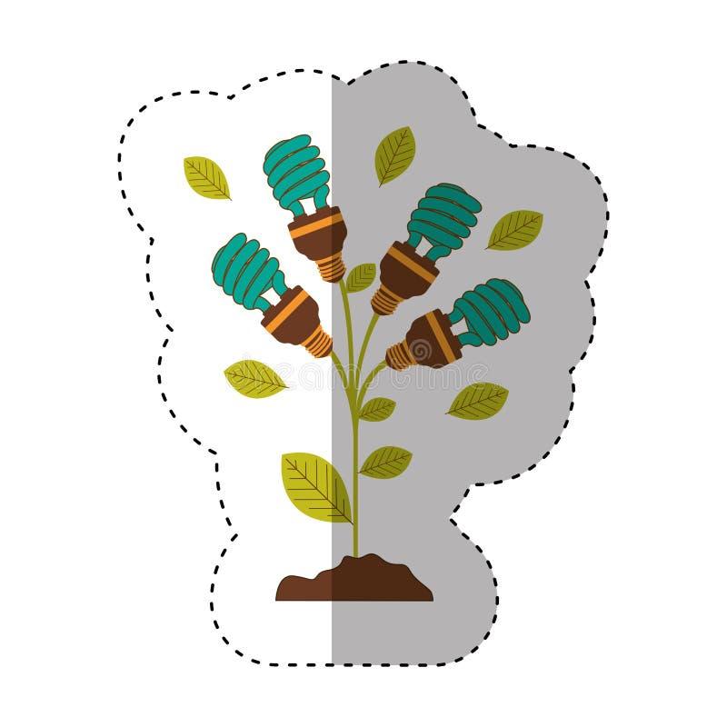 Aufkleber des Betriebsstammes mit Blättern und Leuchtstoffbirnen winden sich mit hellem Türkis stock abbildung