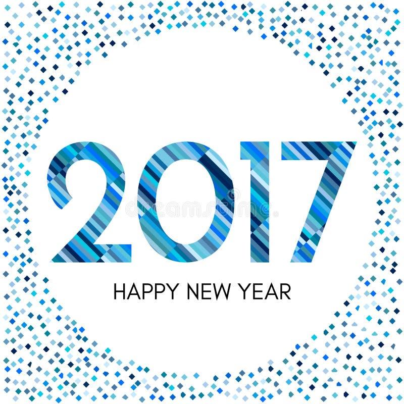 Aufkleber des guten Rutsch ins Neue Jahr 2017 mit blauen Konfettis und Linien lizenzfreie abbildung