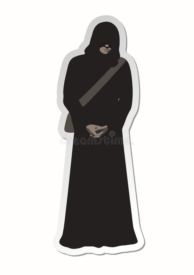 Aufkleber des Mannwanderers in der braunen schlechten Mönchrobe mit den Armen gekreuzt, dem Gesicht versteckt unter einer Haube u vektor abbildung