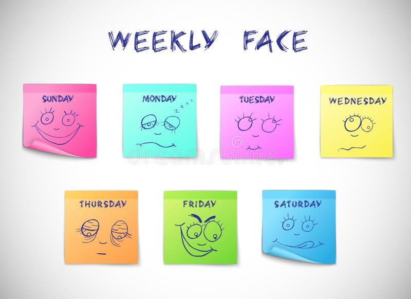Aufkleber des wöchentlichen Kalenders lizenzfreie abbildung