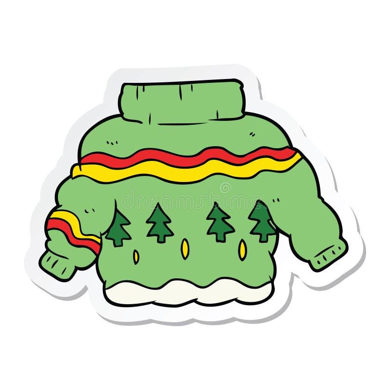 Aufkleber eines Karikaturweihnachtspullovers lizenzfreie abbildung