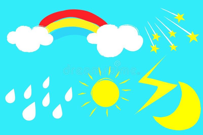 Aufkleber eingestellt mit Sonnenregenbogen-Wolkenmond auf blauem Hintergrund stockbild