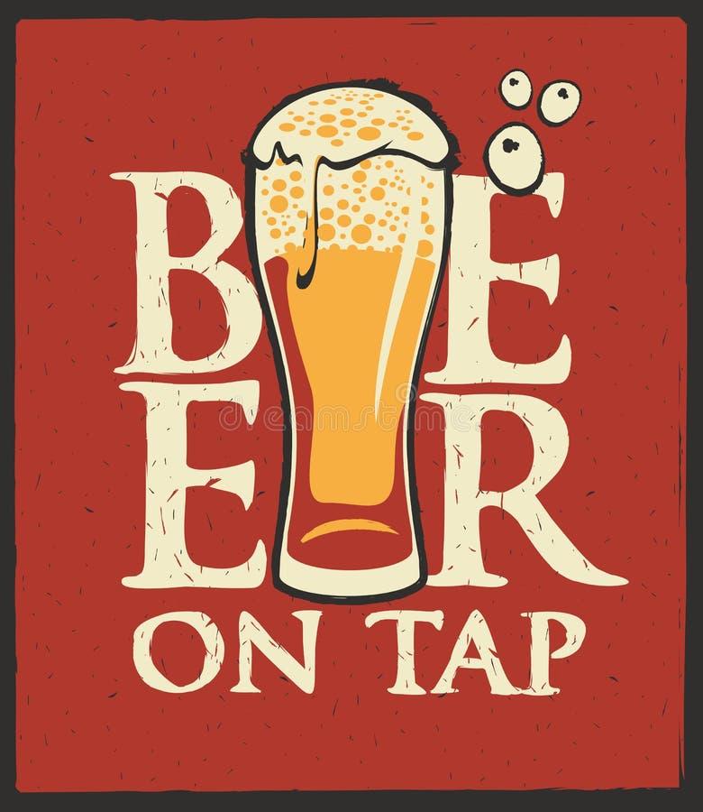 Aufkleber für Bier auf Hahn mit überfließendem Bierglas vektor abbildung