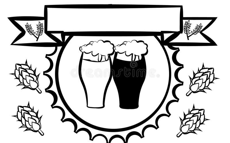 Aufkleber für Bier, Design für die Pflasterung der Bar Zwei Biergläser mit dem hellen und dunklen Bier, das durch Hopfen umgeben  lizenzfreie abbildung