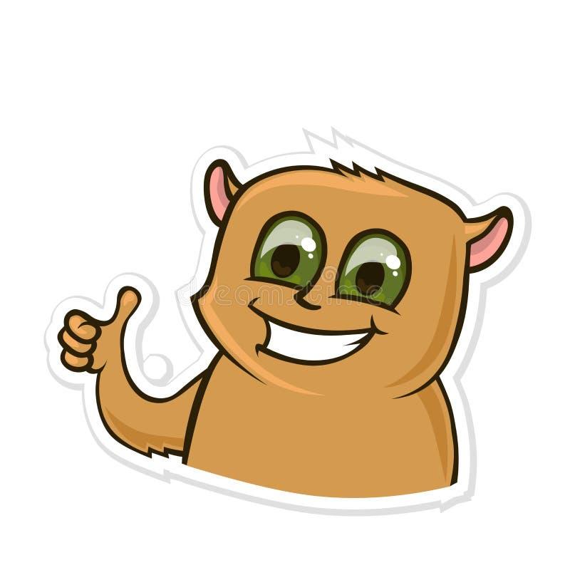 Aufkleber für Boten mit lustigem Tier Glücklicher Hamster, der Daumen-oben oder wie Geste zeigt Vektorillustration an lokalisiert vektor abbildung