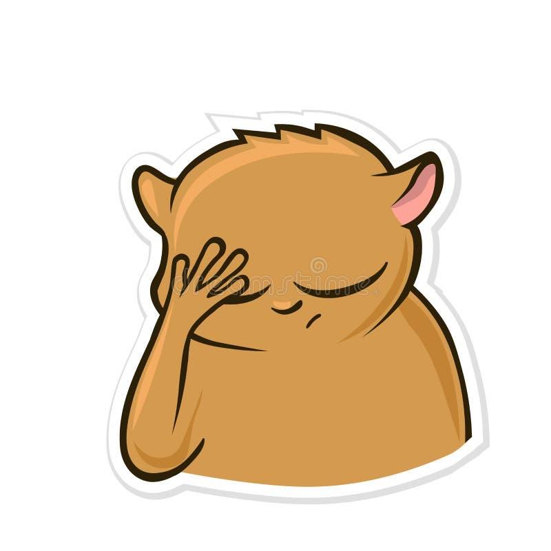 Aufkleber für Boten mit lustigem Tier Hamster, der facepalm Geste, fühlend macht beschämt Vektor-Illustration, lokalisiert lizenzfreie abbildung