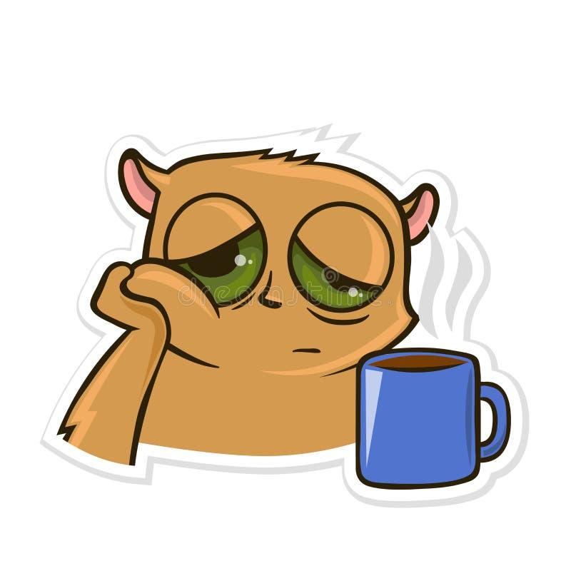 Aufkleber für Boten mit lustigem Tier Hamster mit einer Tasse Tee oder Kaffee Vektorabbildung, getrennt auf Weiß vektor abbildung