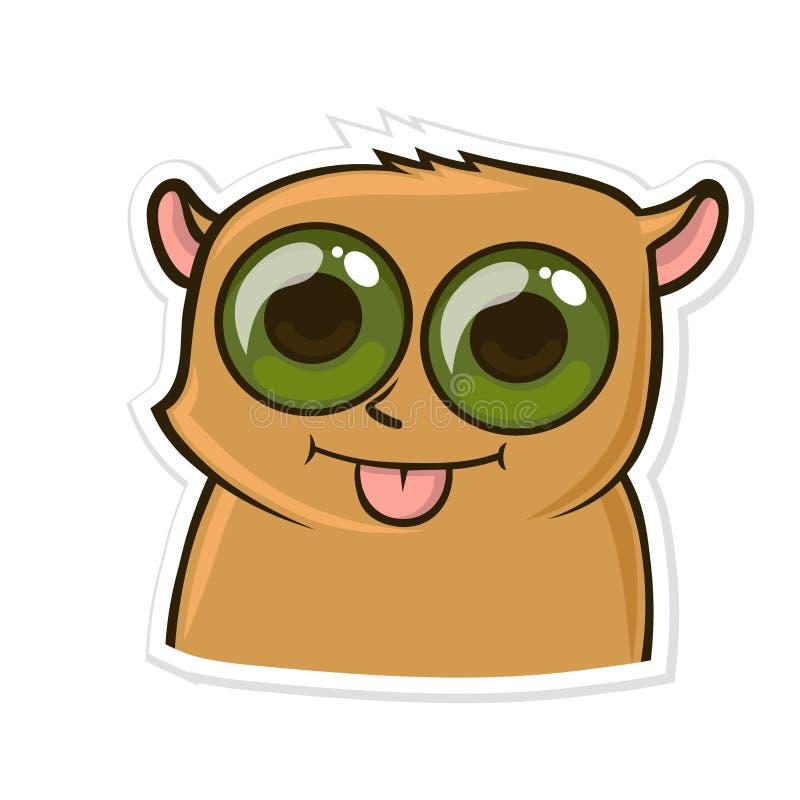 Aufkleber für Boten mit lustigem Tier Hamster zeigt Zunge Vektorabbildung getrennt auf weißem Hintergrund lizenzfreie abbildung