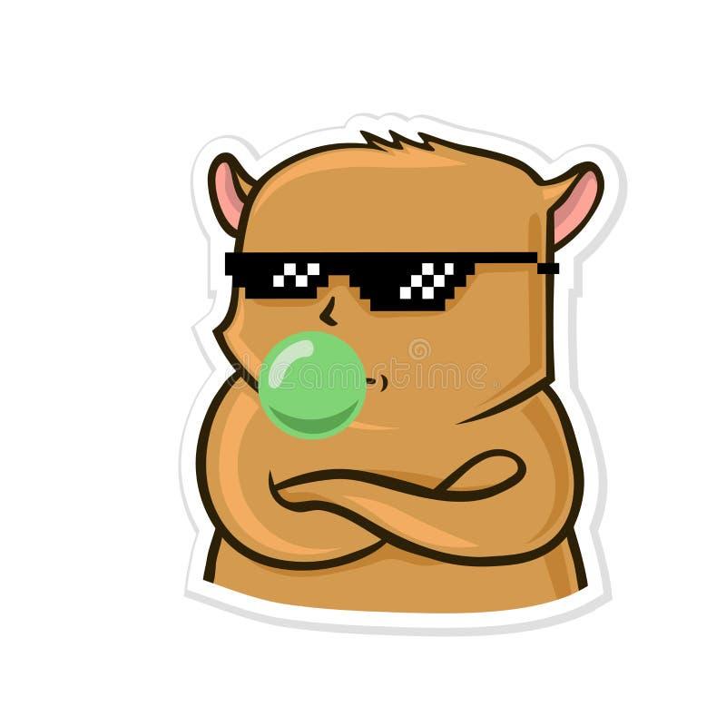 Aufkleber für Boten mit lustigem Tier Ruhiger Hamster in der Sonnenbrille bläst Gummi auf Vektorillustration lokalisiert auf Weiß lizenzfreie abbildung