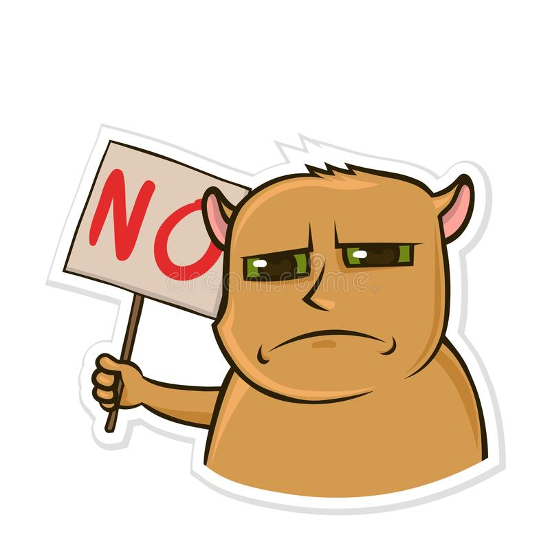 Aufkleber für Boten mit lustigem Tier Unbefriedigter Hamster, der ein Zeichen mit dem Wort kein hält Lokalisierter Vektor lizenzfreie abbildung