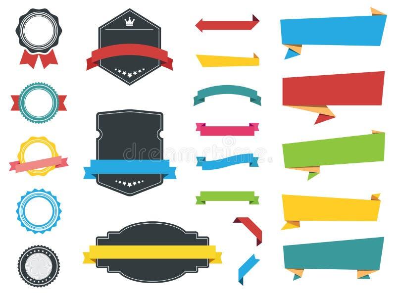 Aufkleber, Fahnen, Bänder und Aufkleber-Vektoren lizenzfreie abbildung