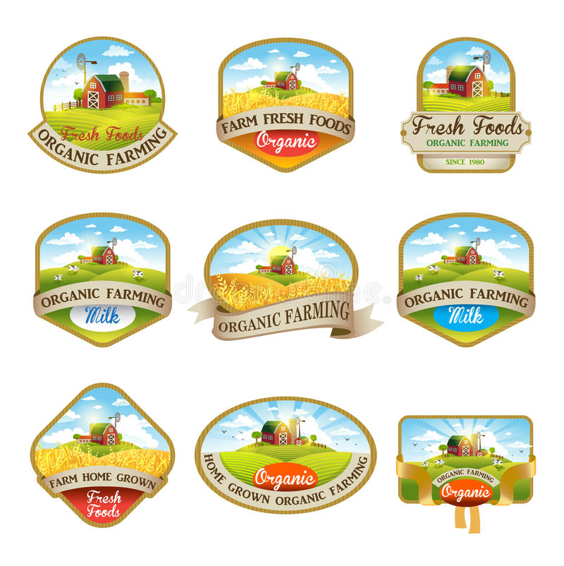 Aufkleber mit dem Bild eines Bauernhofes lizenzfreie abbildung