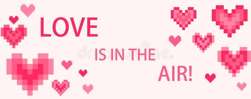Aufkleber mit digitalen rosa Herzen und Beschriften Liebe ist in der Luft lizenzfreie abbildung