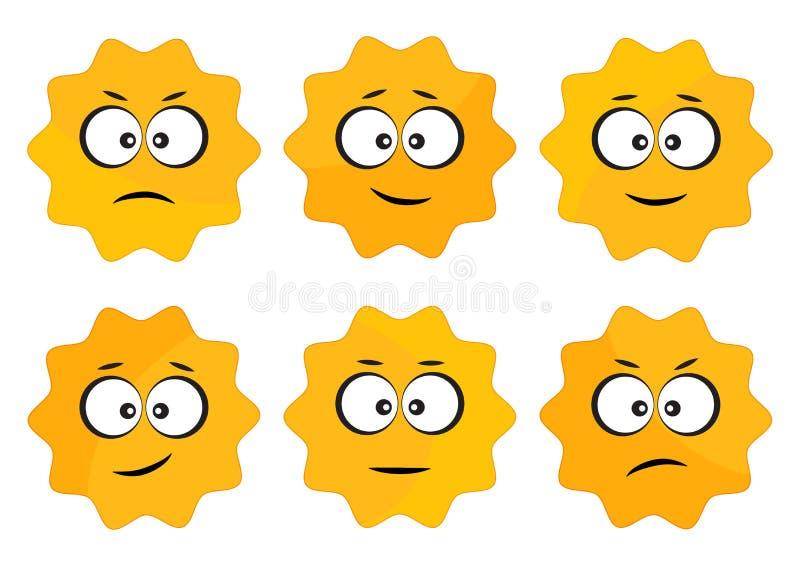 Aufkleber mit Gesichtsgefühlen, gelbe runde Aufkleber Auch im corel abgehobenen Betrag lizenzfreie abbildung