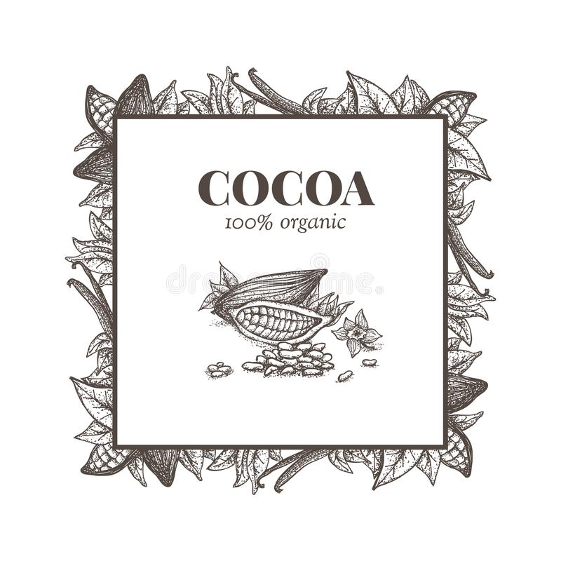 Aufkleber mit gezeichneten Elementen des Kakaos Hand stock abbildung
