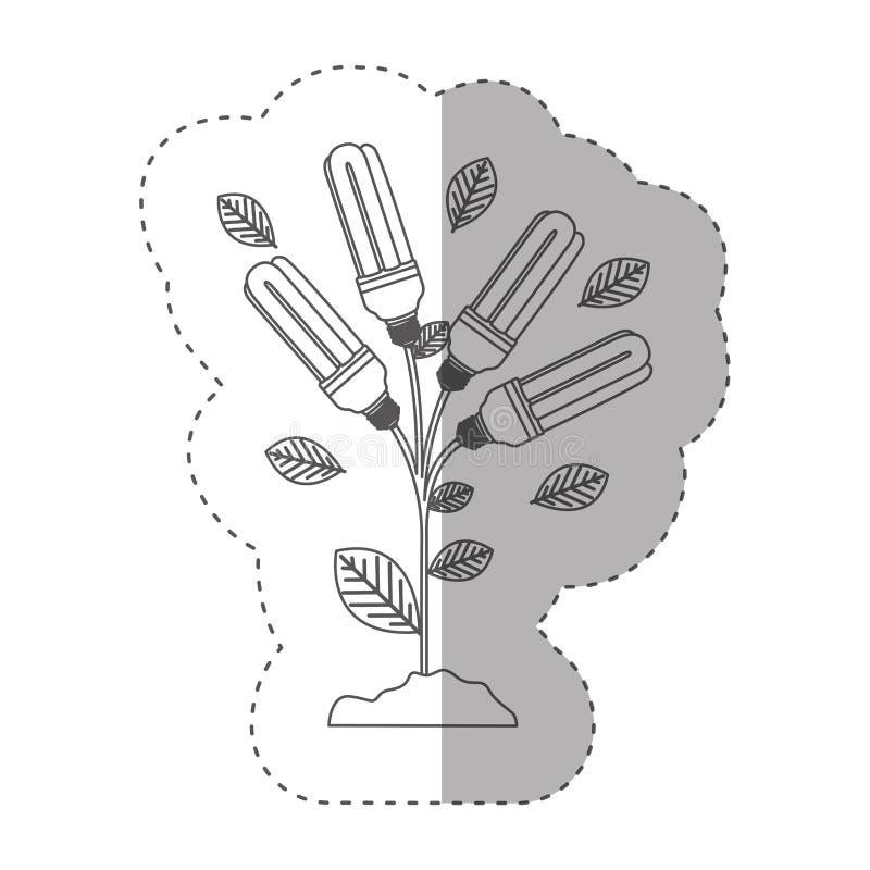 Aufkleber mit Grayscalekontur mit Betriebsstamm mit Blättern und Leuchtstoffbirnen vektor abbildung