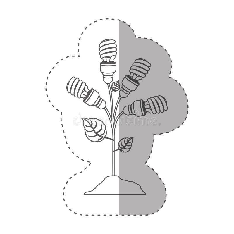 Aufkleber mit Grayscalekontur mit Betriebsstamm mit Blättern und Leuchtstoffbirnen winden sich lizenzfreie abbildung