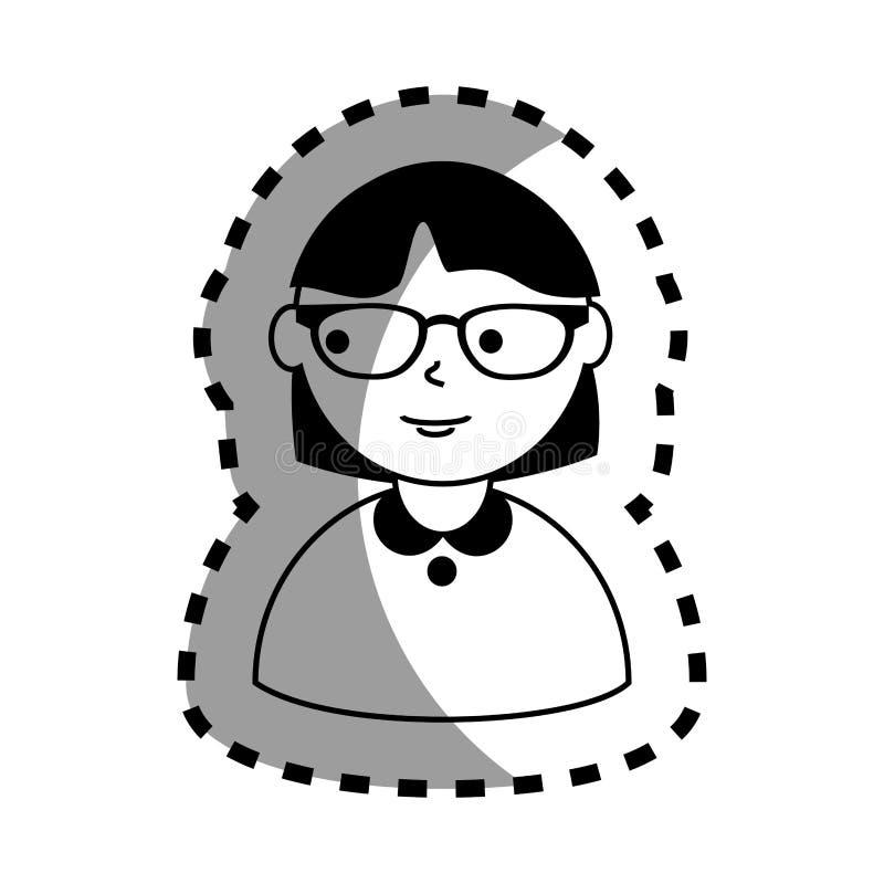 Aufkleber mit halbem Körperfrauenmonochrom mit dem kurzen Haar und den Gläsern lizenzfreie abbildung