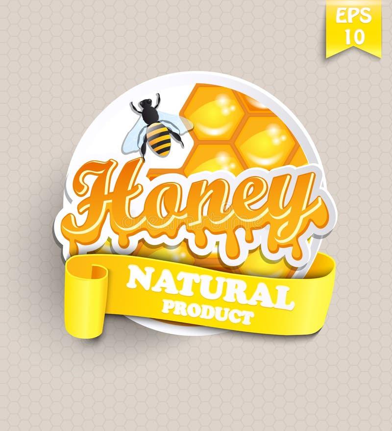 Aufkleber mit Honig stock abbildung