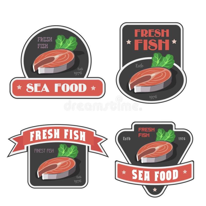 Aufkleber- oder Logovektorillustration der Meeresfrüchte und der frischen Fische stock abbildung