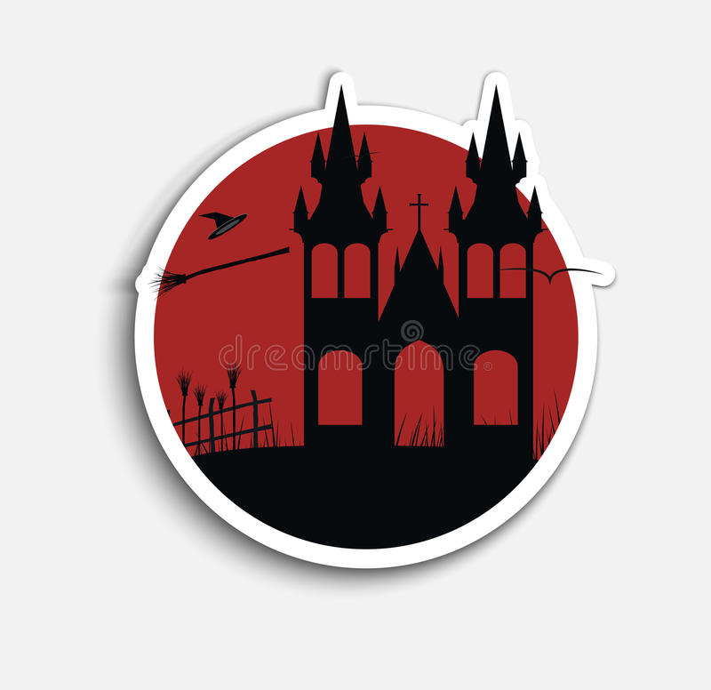Aufkleber-Schablonenikonen auf Halloween lizenzfreie abbildung