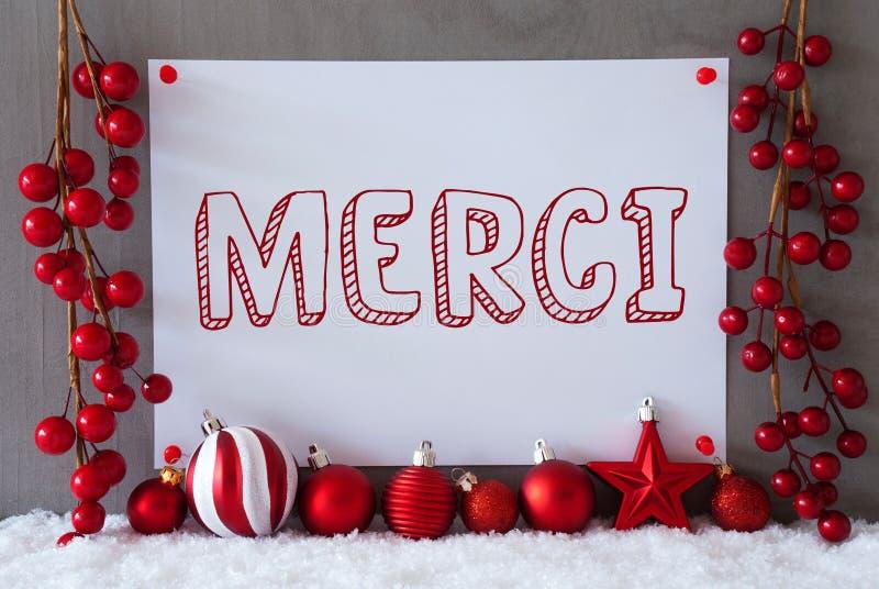 Aufkleber, Schnee, Weihnachtsbälle, Merci-Durchschnitte danken Ihnen lizenzfreie stockfotografie