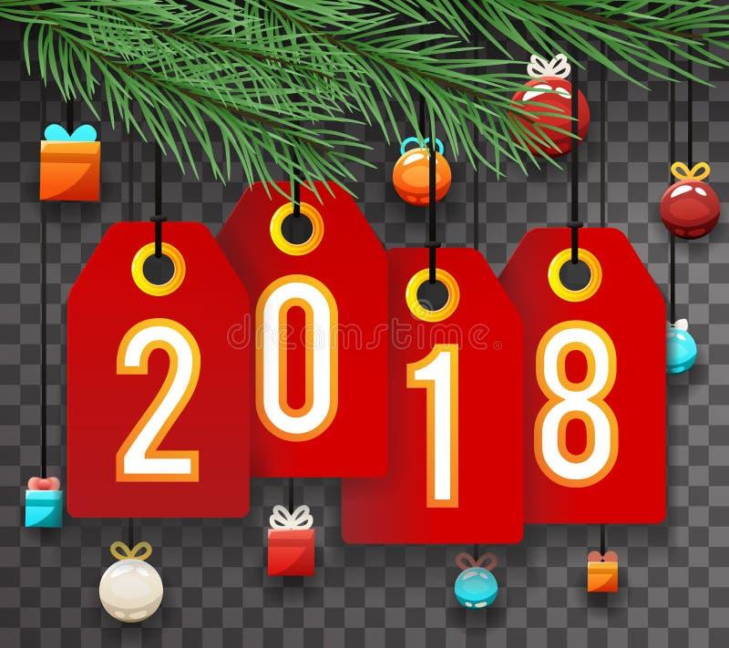 Aufkleber-Symbol-Ikone Transperent-Hintergrund-Schablonen-Vektor-Illustration des neuen Jahr-2018 vektor abbildung