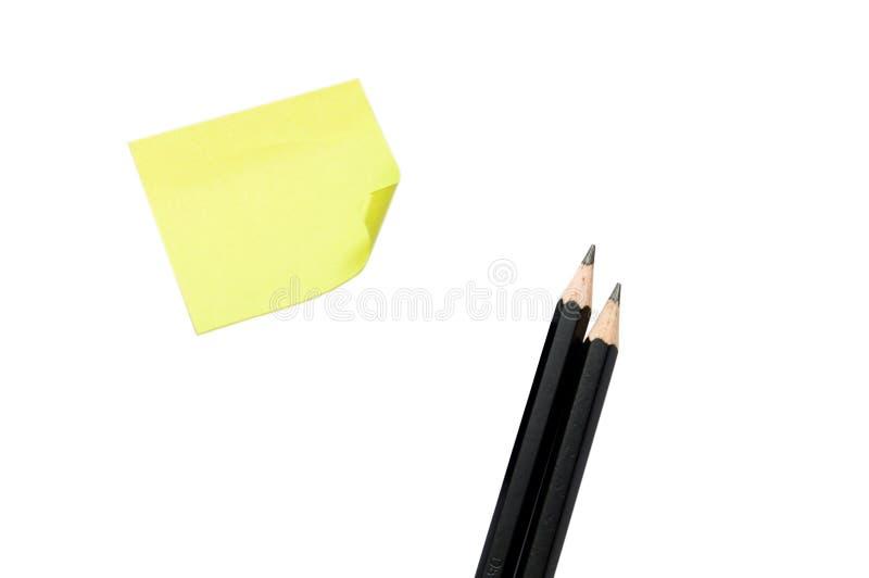 Aufkleber und Bleistifte stockfotografie